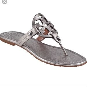 Tory Burch Miller silver tumbled leather sandals